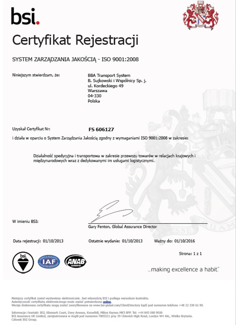 BBA Transport System - Certified forwarding company Europe